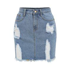 SheIn(sheinside) Frayed Denim Pencil Skirt (€13) ❤ liked on Polyvore featuring skirts, bottoms, saias, blue, knee length pencil skirt, short bodycon skirt, pencil skirt, blue pencil skirt and denim pencil skirt