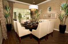 Transitional Dining Room with Marazzi Montagna Saddle 6 in. x 24 in Glazed Porcelain Floor and Wall Tile, interior wallpaper