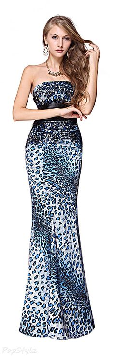 Ever Pretty 09832 Animal Printed Satin Strapless Fishtail Long Dress