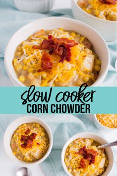 Slow Cooker Corn Chowder - the perfect thing to make in the fall to warm you up. So good and easy to Easy Soup Recipes, Crockpot Recipes, Vegetarian Recipes, Dinner Recipes, Cooking Recipes, Dinner Ideas, Crockpot Dishes, Lunch Ideas, Yummy Recipes
