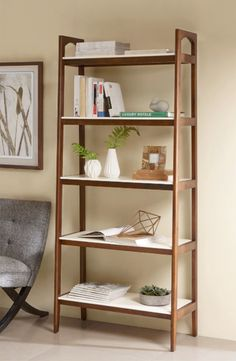 Upgrade your storage space with this lovely neutral home decor shelf furniture. The fresh white tops with the pecan wood finish creates a combo that sets this apart from the rest. The clean lines of this mid century design finish this group off.
