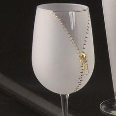 Zipper Wine Glasses. Instead of half-empty or half-full, how about half-zipped or half-unzipped?
