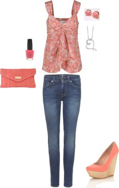 """Pink and Peach"" by petuniapriss on Polyvore"