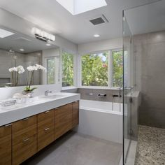 river rock shower floor, floating wood vanity and white (close, very close...)