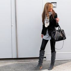 leggings + boots + long shirt + scarf
