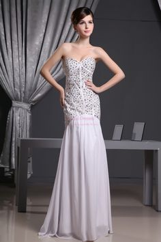 White Mermaid Prom Dresses 2013, Sweetheart Mermaid Evening Gown  $168.00