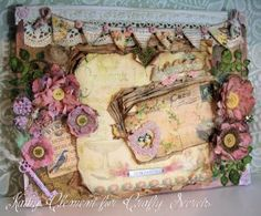 Mixed media canvas by Kathy Clement using painting, inking and distressing techniques with details on what she used and did to create all the layers of vintage charm. The papers, banner, bingo card, postcard, etc are all from Crafty Secrets Typography CD # 3
