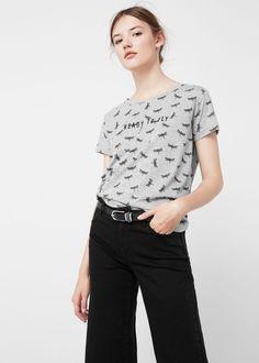 T-shirt algodão estampada   MANGO