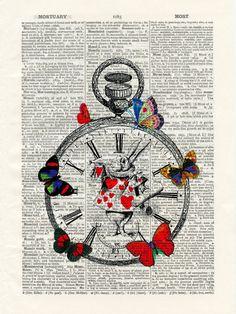 Alice in Wonderland book page print
