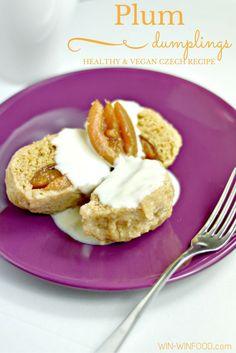 Plum Dumplings | WIN-WINFOOD.com Delicious #Czech recipe made #healthy and #vegan