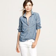 Selvedge chambray popover - casual shirts - Women's shirts & tops - J.Crew