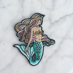 Mermaid Patch Iron On Embroidered by WildflowerandCompany on Etsy