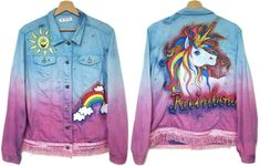 ♥♥DESCRIPTION♥♥ *Handmade denim jacket. The only one copy!. *100% real photos. - hand-dyed, ombre - purple and blue - hand painted, on the back rainbow unicorn, in front rainbow and sun - two pockets - bottom finished fringed - only one copy! *The model is 5,7 (174 cm), measures 35-27-38 (90-69-96 cm) and wears size M ♥♥DIMENSIONS/MEASUREMENTS♥♥ best fits: M-L Chest: 44 inches (112 cm) length: 24,5 inches (62 cm) sleeve length from armpit: 17,5 inches (44 cm) ♥♥MATERIALS♥♥: jeans, cotto...