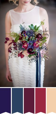 Hues of Burgundy and Blue Bridal Bouquet // www.onefabday.com