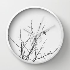 Wall Clock Slow Winter Black and White by Kitchen Clocks, Minimalist Home Decor, Black And White Photography, Nature Photography, Decorative Plates, Tic Tac, Art Prints, Bird, Winter