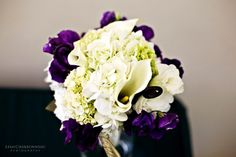 Green Purple White Bouquet Wedding Flowers Photos & Pictures - WeddingWire.com