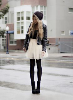 ballerina skirt with opaque tights, a fitted jacket and booties. Top it off with a cozy knit hat so you'll stay both stylish and warm. Hard and soft outfit for your inner rocker Make Girl, Look Girl, Mode Outfits, Fall Outfits, Summer Outfits, Casual Outfits, Look Fashion, Fashion Beauty, Street Fashion