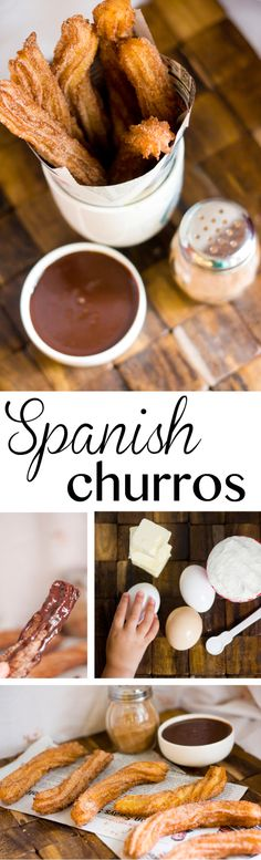I just made the churros. So easy and delish. Had everything on hand and the kids loved it. Use less water I just made the churros. So easy and delish. Had everything on hand and the kids loved it. Use less water Mexican Food Recipes, Sweet Recipes, Dessert Recipes, Spanish Food Recipes, Easy Recipes, Spanish Desserts, Mexican Desserts, Tapas Recipes, Chocolate Dipping Sauce