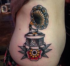 """Gramophone Tattoo (traditional) by Mors Tattoo at MTL tattoo in Montreal…"