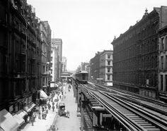 1900 Chicago 'L' Elevated Subway Train on Wabash Street