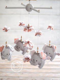 Grey & Pink Elephant Nursery Mobile Girl, Grey & Pink Nursery Decor by #LollyCloth