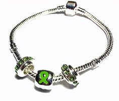 Pandora Style Traumatic Brain Injury Awareness Silver Charm Bracelet