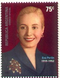 Stamp of Eva Peron 2002 released in memory of the 50th anniversary of Evita's passing.