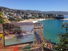Painting a small plein air study of Crescent Beach from the cliff above