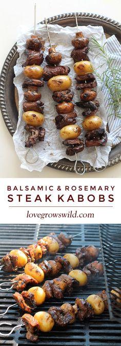 Balsamic & Rosemary Steak Kabobs - http://lovegrowswild.com/2014/10/balsamic-rosemary-steak-kabobs/