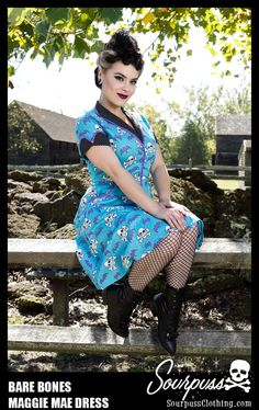 SOURPUSS BARE BONES MAGGIE MAE DRESS  http://www.sourpussclothing.com/sourpuss-bare-bones-maggie-mae-dress.html  #sourpuss #sourpussclothing #sourpussdress #psychobilly #halloween #skulls #bats #batdress #photoshoot #pinup