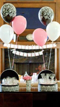 Paris baby shower - simple, chic decor. Love the hatbox idea for party favors