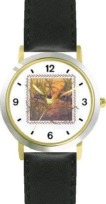 Crickets in Grass - from Hush Little Baby by Artist: Sylvia Long - WATCHBUDDY® DELUXE TWO-TONE THEME WATCH - Arabic Numbers - Black Leather Strap-Size-Children's Size-Small ( Boy's Size & Girl's Size ) WatchBuddy. $49.95