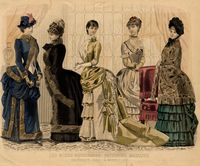 This fashion plate is a good example of the horizontal effect of the shelf bustle. Some costume features in this image are the jacket style bodices, skirts ending several inches above the floor, and accessories such as gloves, decorated hats, and muffs