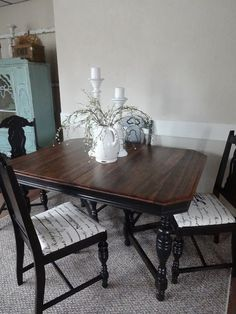 Super Painting Wood Table And Chairs Dining Rooms Ideas Antique Dining Tables, Dinning Room Tables, Table And Chairs, Dining Rooms, Kitchen Dining, Kitchen Wood, Dining Sets, Refinishing Kitchen Tables, Refinished Table