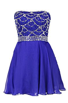 Tidetell.com Lovely Strapless A-line Knee Length Chiffon Royal Blue Homecoming Dress With Beading