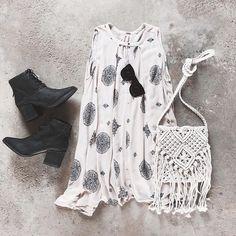 paisley dress + black booties #freepeople #matisse