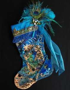 Peacock Christmas stocking a custom by WildAboutChristmasNV, $195.00