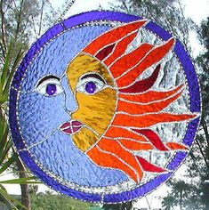 Sun and Moon Stained Glass Suncatcher - Decorative Solder Work - Handcrafted Stained Glass Sun Catcher - Sun Design by StainedGlassDelight Stained Glass Designs, Stained Glass Projects, Stained Glass Patterns, Broken Glass Art, Sea Glass Art, Making Stained Glass, Stained Glass Art, Mosaic Art, Mosaic Glass