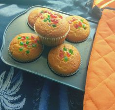 Eggless Orange Tutti frutti Muffins - Fruity Orange muffins with a combination of tutti frutti. Perfect for tea time. Kid's friendly and super easy to make. Simple Eggless Cake Recipe, Eggless Recipes, Eggless Baking, Baking Recipes, Cake Recipes, Drink Recipes, Kinds Of Desserts, Indian Desserts, No Bake Desserts