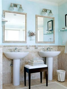 I really like this idea of two completely separate sinks in the bathroom.