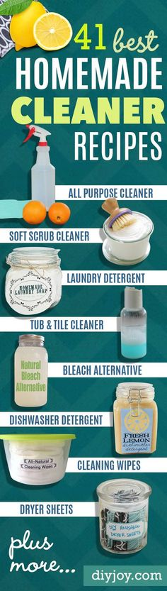 Best Natural Homemade DIY Cleaners and Recipes - All Purposed Home Care, Detergents and Cleaning with Vinegar, Essential Oils and Other Natural Ingredients For Cleaning Bathroom, Kitchen, Floors, Laundry, Furniture and More Ideas http://diyjoy.com/best-homemade-cleaners-recipes