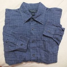 #BROOKS #BROTHERS #Men's #SHIRT #Casual Sz Large #NAVY BLUE White PLAID 100% Linen #ITALY