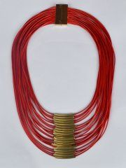 BEAD MULTI LAYER NECKLACE-RED