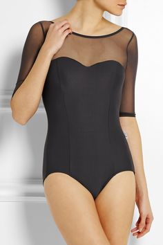 Ballet Beautiful | Mesh-paneled stretch leotard | NET-A-PORTER.COM