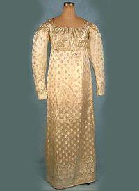 1810 - 1815 Figured Silk Gown - courtesy Deborah Burke, antiquedress.com