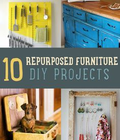 10 Ways to Repurpose Old Furniture - DIY projects for upcycled furniture give you great ideas to decorate on a budget.