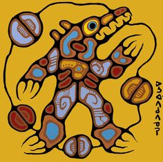 """""""Medicine Bear"""" - """"The Ojibwa have great respect for the Bear. According to their legends, in the distant past the Bear had a human form and was in fact an ancestor of the Ojibwa. Therefore he understands the Indian language and will never attack or fight any Indian if he is addressed properly."""" - Norval Morrisseau"""