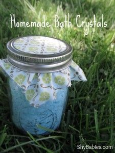 Homemade bath crystals perfect for gift giving or Mother's Day