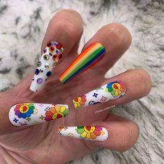 Long coffin nails with multi color Edgy Nails, Grunge Nails, Swag Nails, Best Acrylic Nails, Acrylic Nail Designs, Ballarina Nails, Multicolored Nails, Decoration Stickers, Glow Nails