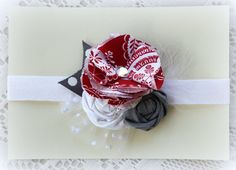 Gray and Red Headband  Baby Girls Christmas by TheSnootiePig, $11.99